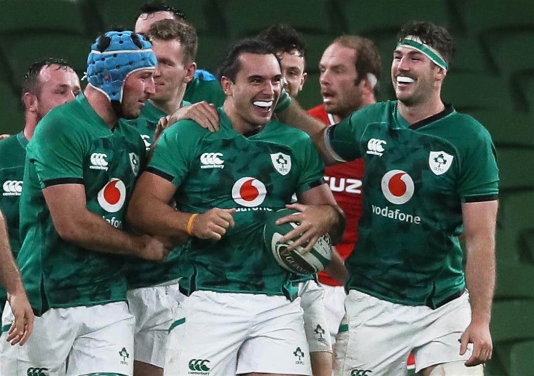 Ireland players celebrate their win over Wales. Photo: Reuters