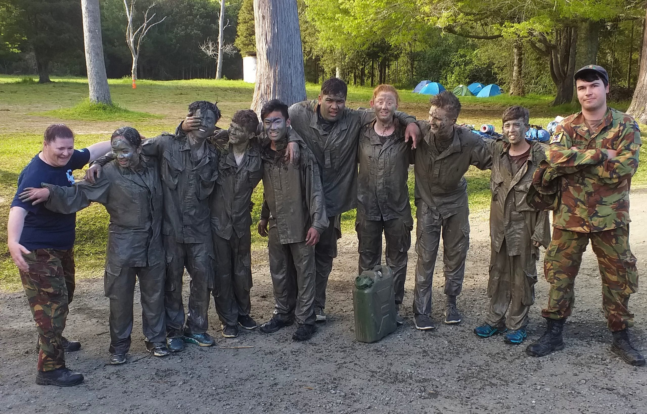 The Ashburton Cadet Unit and support staff after the testing mud run activity. Photo: Supplied