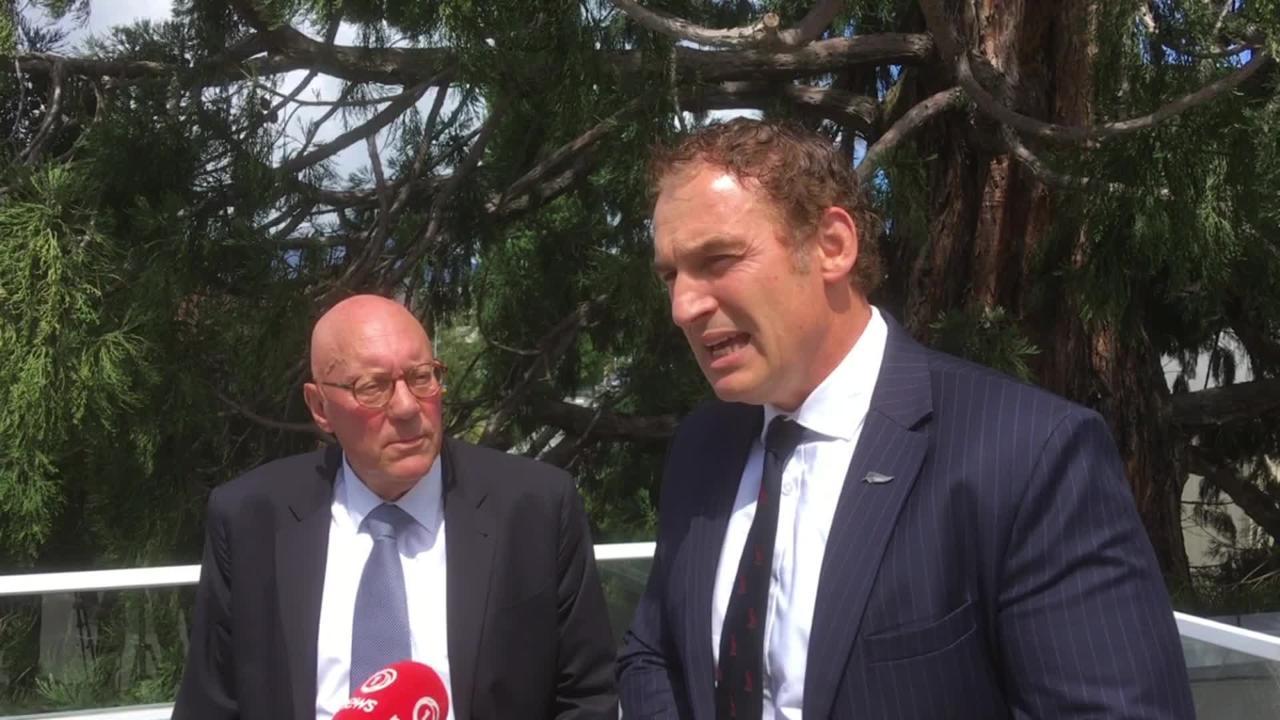 Queenstown mayor Jim Boult (left) and Tourism Minister Stuart Nash. Image: Guy Williams