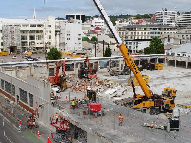 Part of the former Wilson Parking building is being demolished to make way for Dunedin's new...