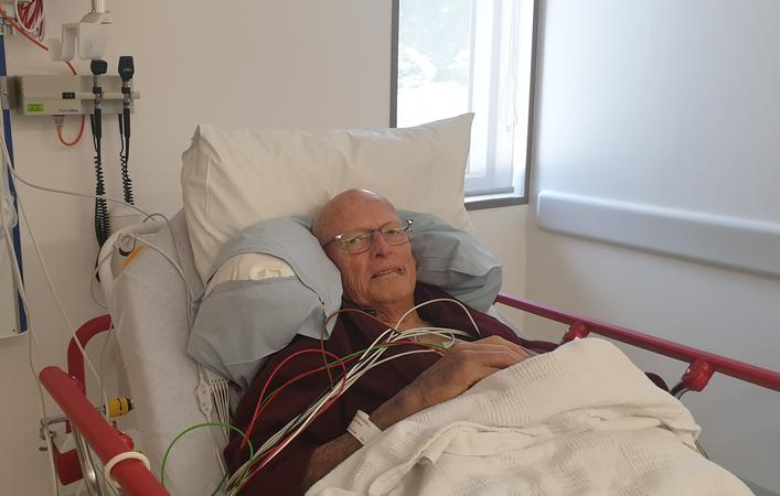 Alastair McDougall, who suffered a stroke, has been moved into a new room in Waipapa. Photo:...