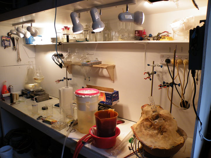 A meth lab that was set up in a family's garage. Photo: Supplied