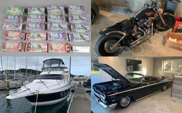 Seven firearms, cash, methamphetamine, and artwork were among assets seized by police cracking...