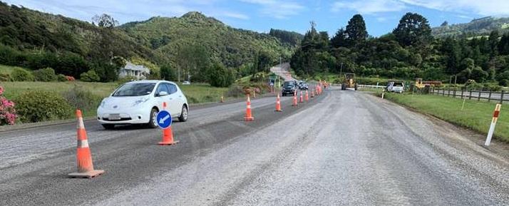 Roadworks on State Highway 1 at Evansdale north of Dunedin. Photo: NZTA