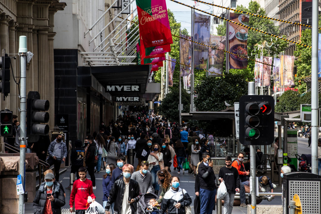 A crowded Bourke Street in Melbourne. Photo: Getty