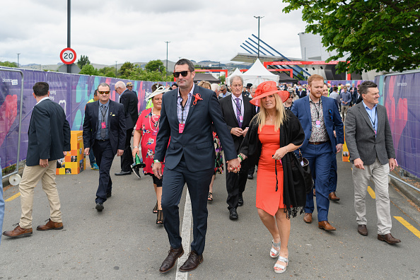 Racegoers arrive at Addington Raceway. Photo: Kai Schwoerer/Getty Images