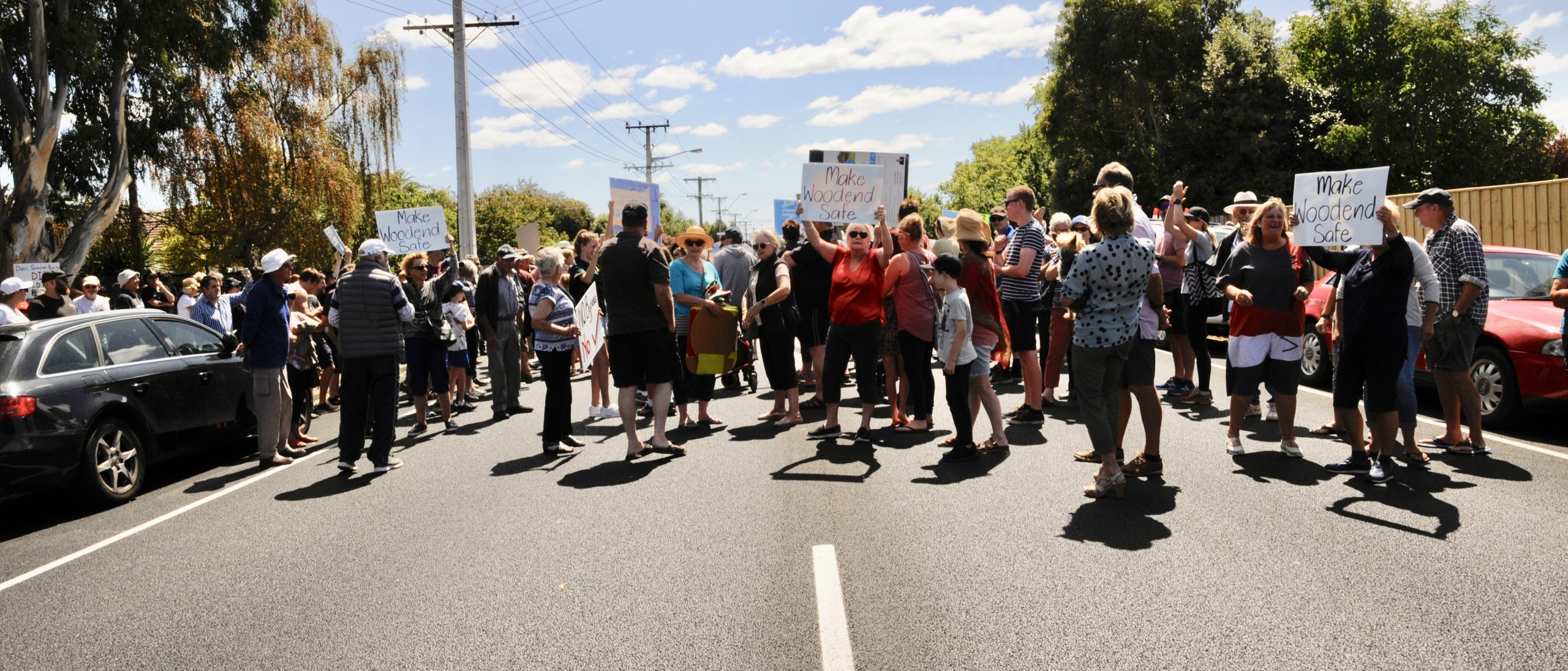 Protesters block part of Main North Rd on State Highway 1 earlier this year after a community...
