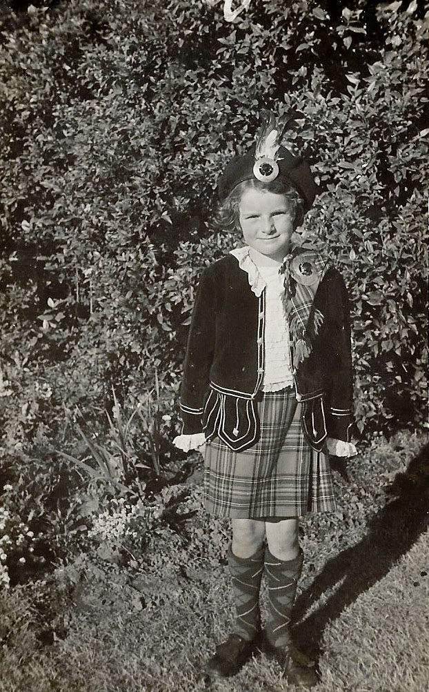 Colleen Cole in her Highland dancing attire as an eight-year-old in Christchurch. Photo: Supplied