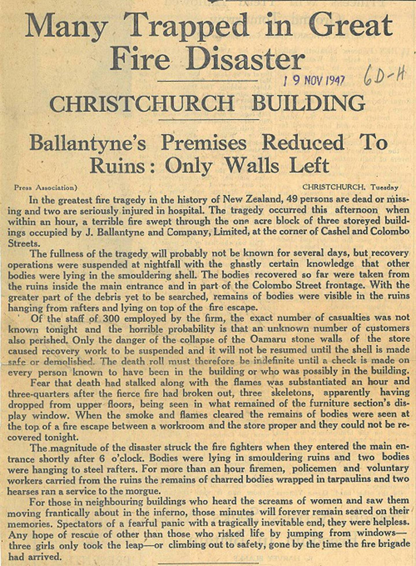 The Ballantynes fire on November 18, 1947, remains New Zealand's deadliest fire tragedy. Photo:...