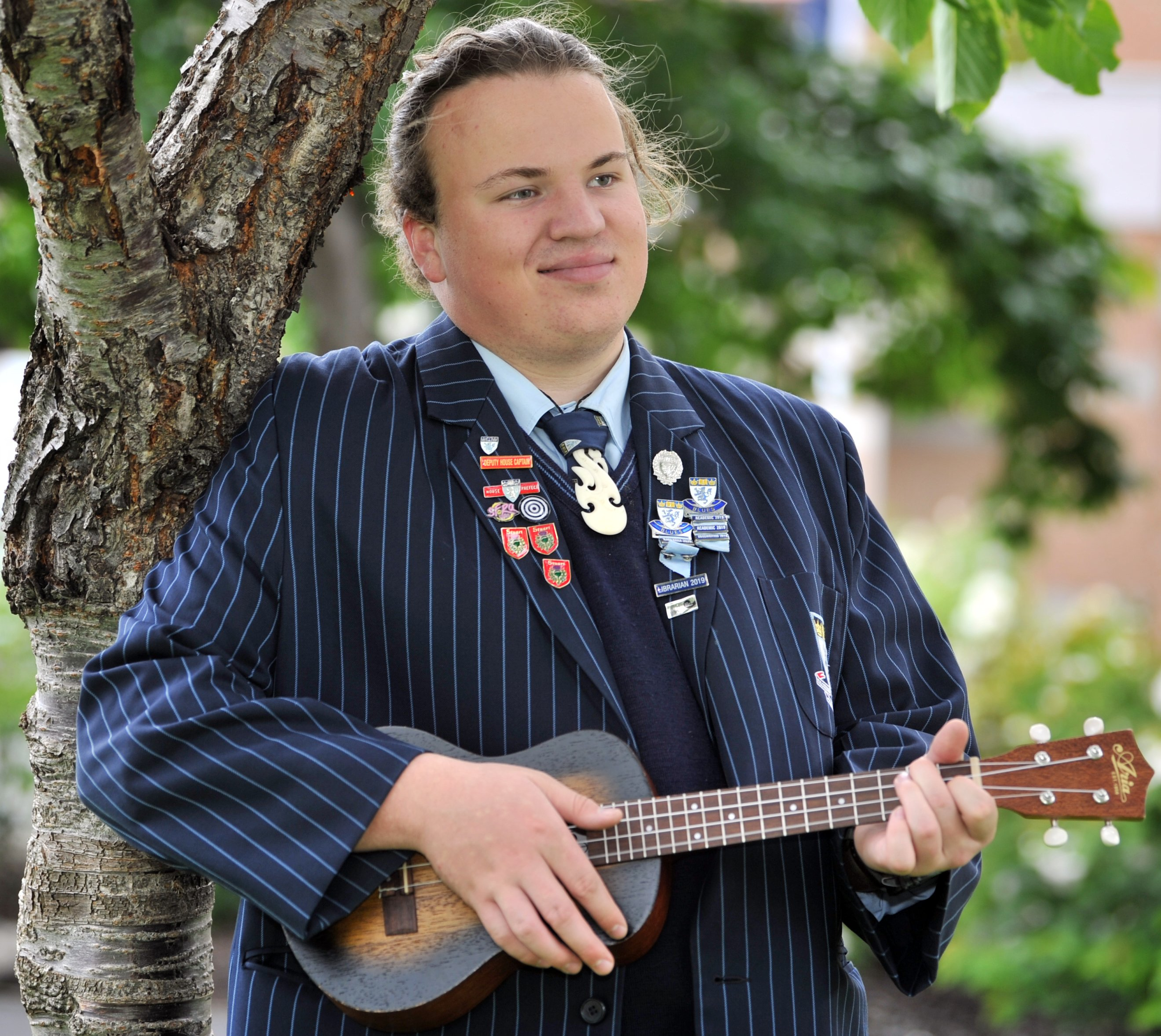 King's High School pupil Tomuri Spicer strums his way through his latest song — Different — which...