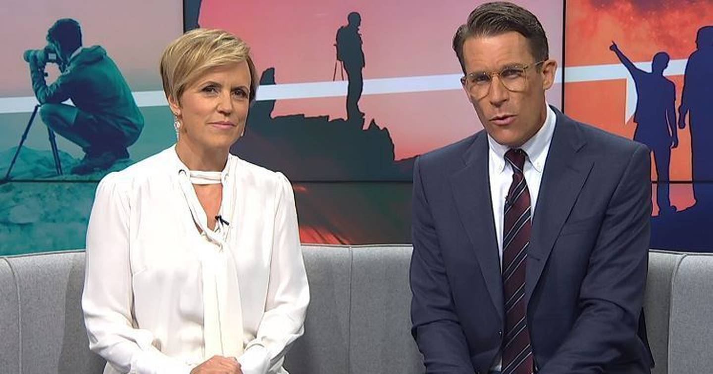 Hilary Barry and co-host Jeremy Wells on Seven Sharp last night. Photo: Supplied