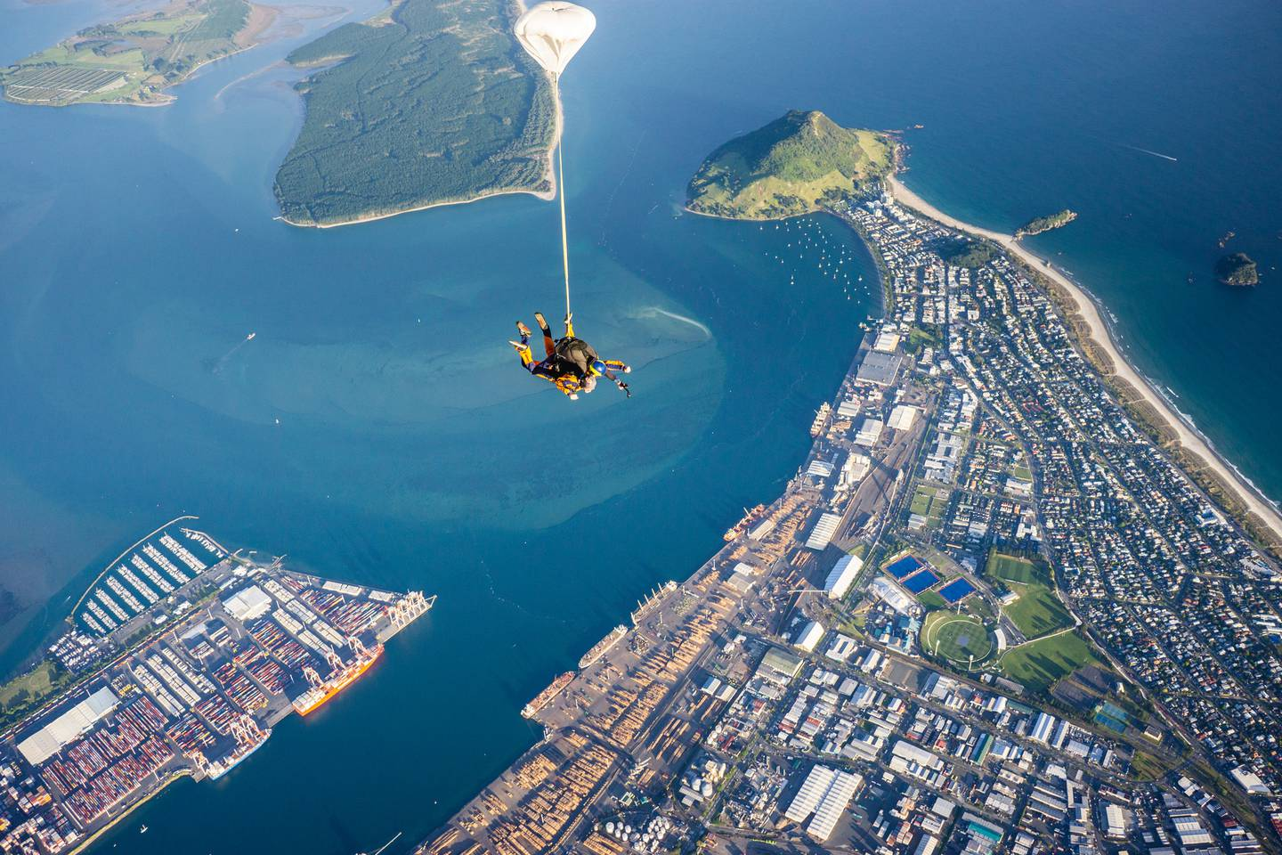 Richie McCaw completes his first ever skydive over Mt Maunganui. Photo: Supplied