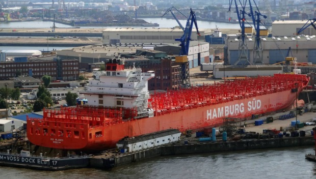 Rio Blanco is a container ship owned by A.P. Moller Singapore Pte. Ltd. Photo via NZ Herald