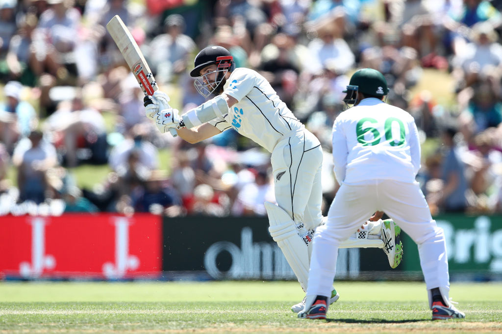 Kane Williamson in action against Pakistan on day one of the first test yesterday. Photo: Getty
