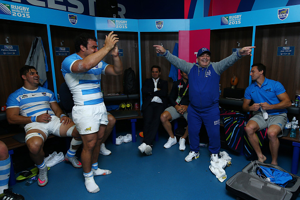Diego Maradona celebrates with Argentina after a 2015 Rugby World Cup pool match. Photo: Getty...