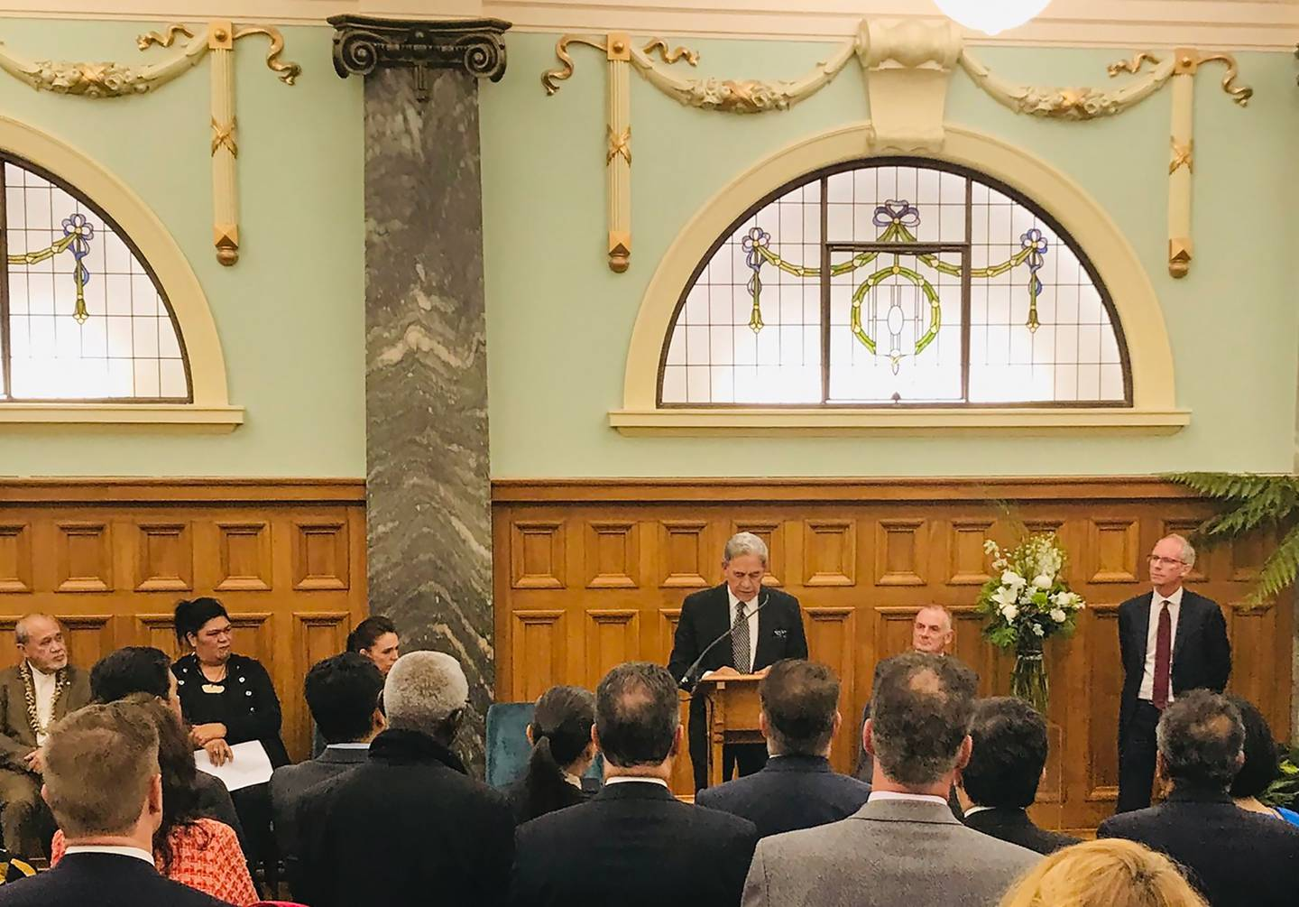 Former Deputy PM Winston Peters delivering a speech in Parliament at a farewell reception tonight...