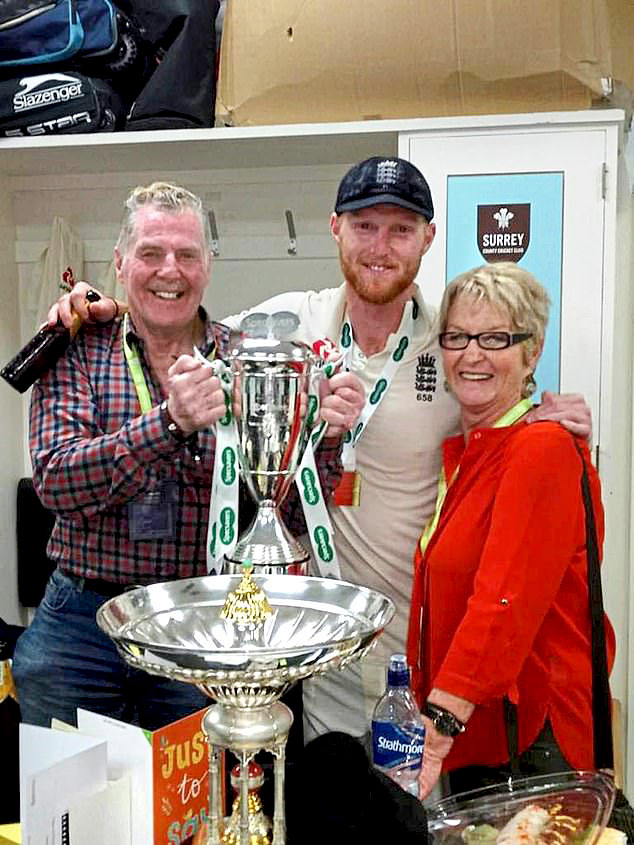 Ged, Ben and Deb Stokes with the trophy after England won the 2018 test series against India....