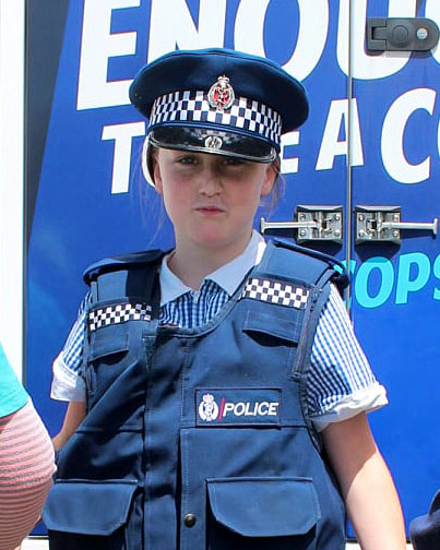 Maddy and other pupils at the school got the opportunity to try on police uniforms during the...