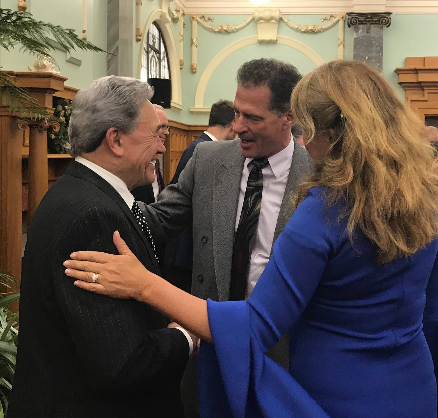 Winston Peters is farewelled by departing US Ambassador to New Zealand Scott Brown. Photo: Audrey...