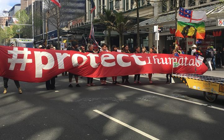 Ihumātao protesters at the climate change march on Auckland's Queen St on 27 September 2019....