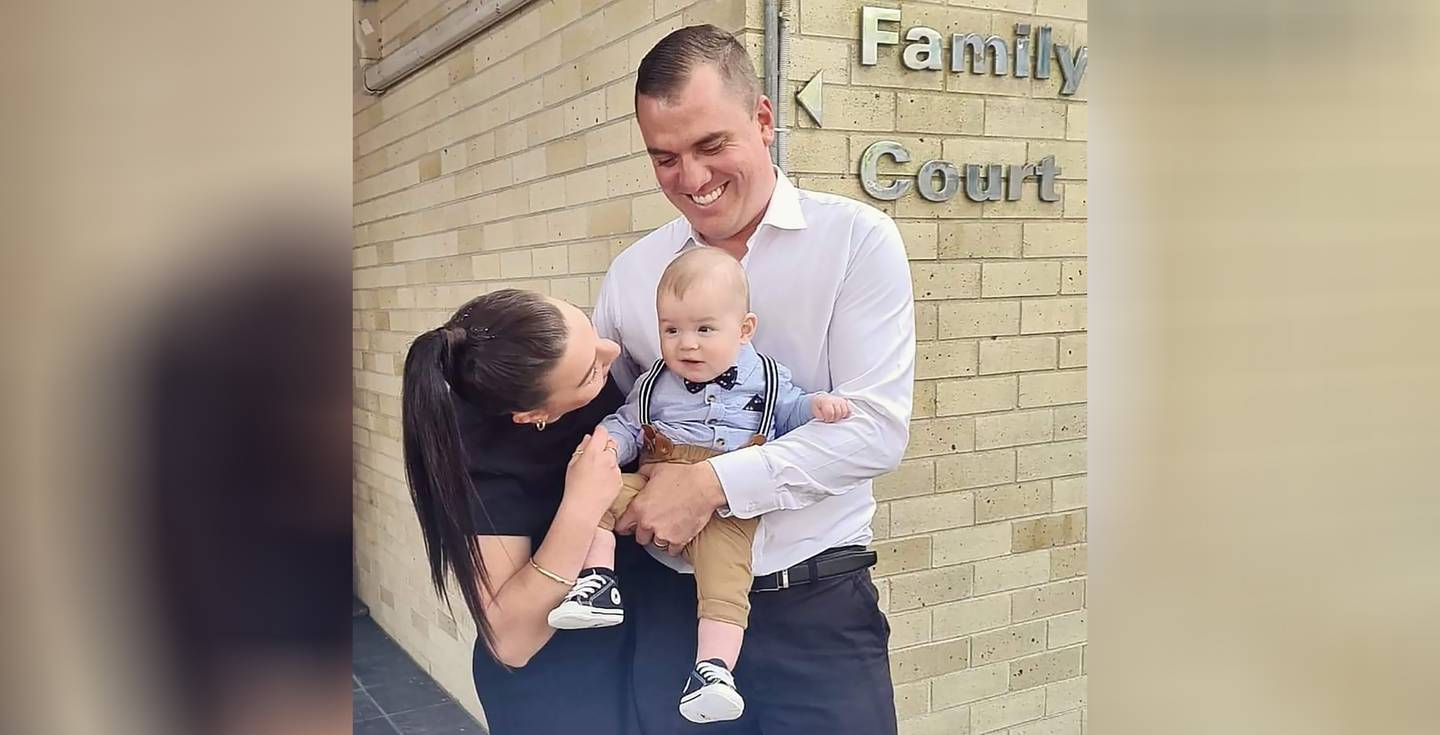 Steph and Matt Larnder with Grayson, 5 months, after they formally adopted the son a surrogate...
