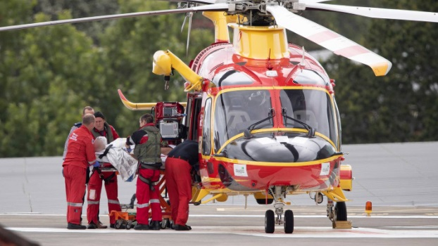 A rescue helicopter arrives at Auckland Hospital with a man who was shot by police yesterday....