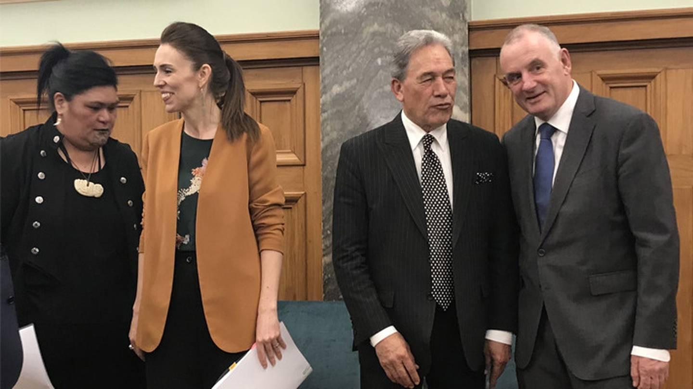 New Foreign Minister Nanaia Mahuta, PM Jacinda Ardern, Winston Peters and Speaker Trevor Mallard...