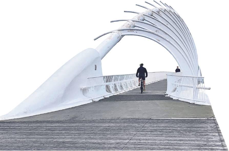 The impressive Te Rewa Rewa bridge stretches across the Waiwhakaiho River. The giant white steel...