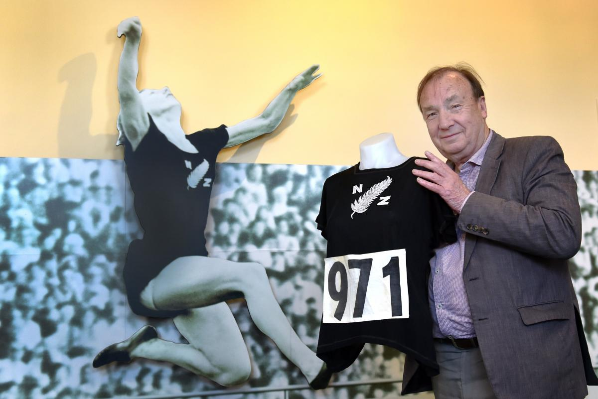 New Zealand Sports Hall of Fame chief executive Ron Palenski examines one of the displays earlier...