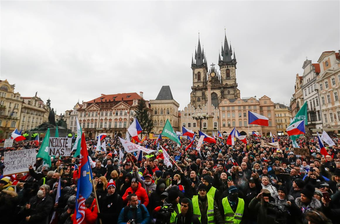 Protesters in Prague rally against the Czech government's Covid-19 restrictions. Photo: Reuters
