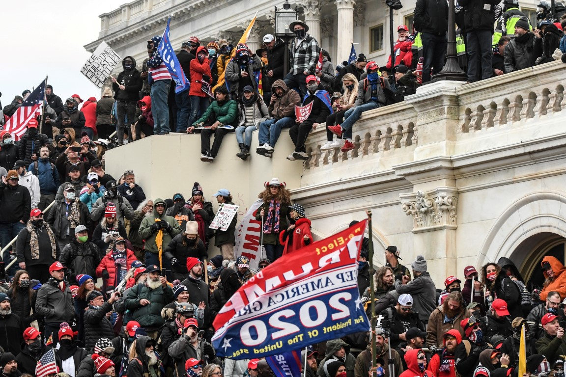 Demonstrators gather at the west entrance of the Capitol in Washington DC during the protest last...