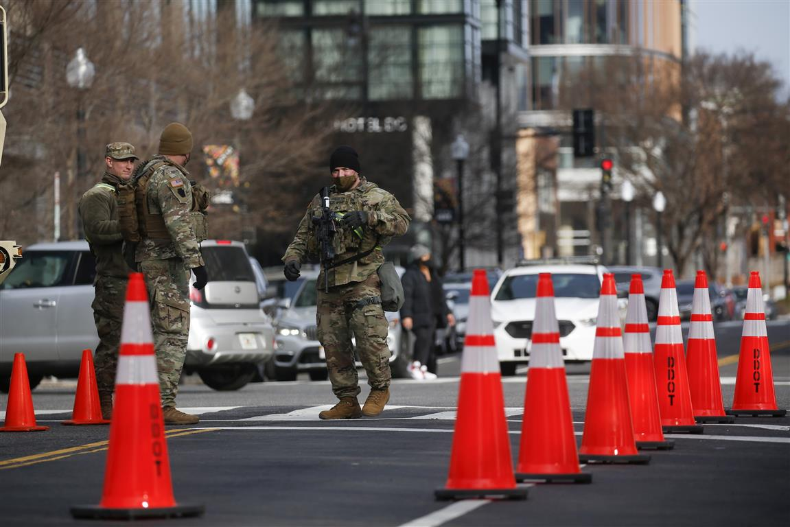 Members of the National Guard secure the area near the Capitol in case of protests ahead of US...