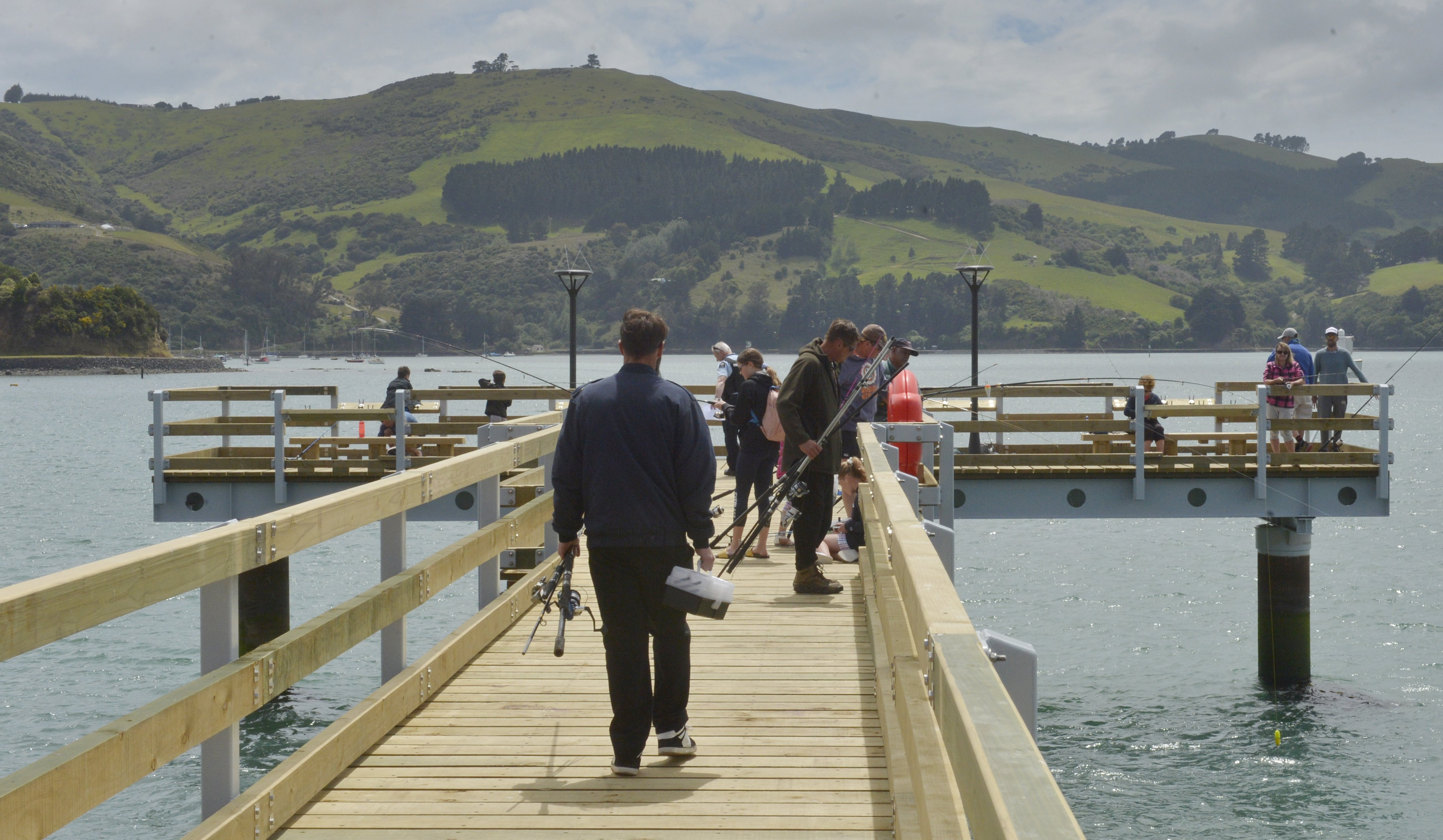 The new fishing wharf at Boiler Point has proved popular with local anglers. PHOTOS: GERARD O...
