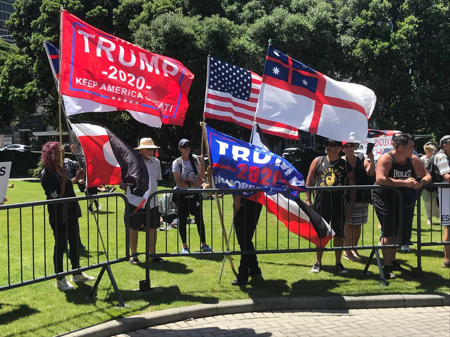 "One of the protesters said she ""loved Trump"" and the rally was about a number of issues. Photo:..."