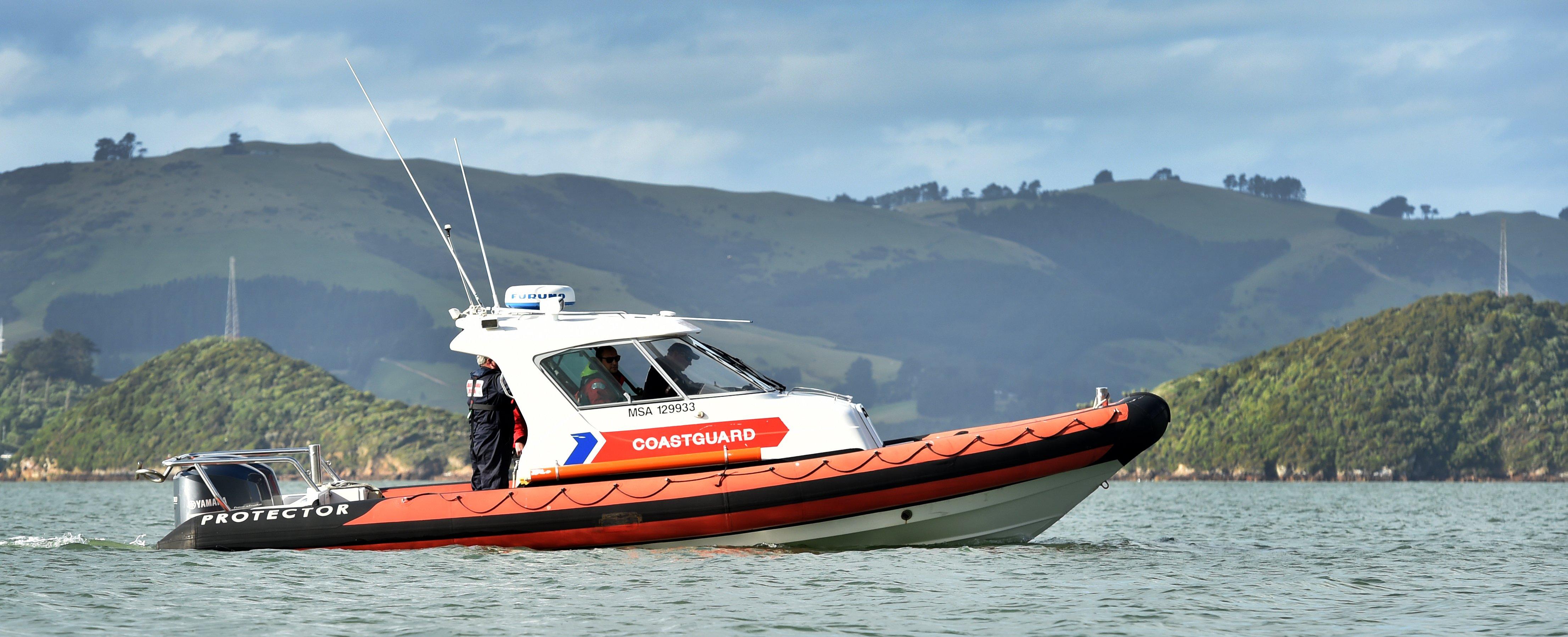 Coastguard Dunedin boat Dunedin Rescue at Broad Bay on Otago Harbour.