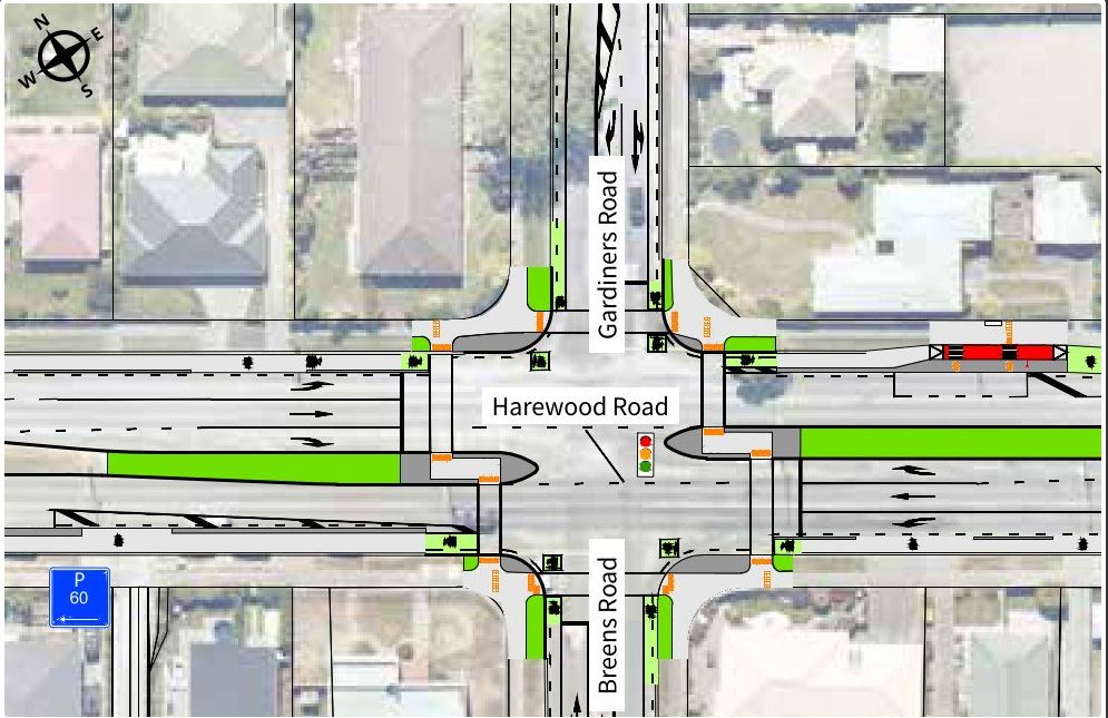 The Harewood, Gardiners, Breens Rds intersection changes. Image: Newsline / CCC