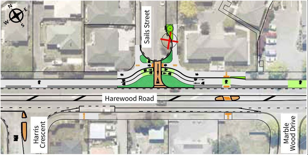 Sails St, Harewood Rd intersection exit only. Image: Newsline / CCC