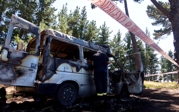 Firefighters investigate the cause of the fire on Tuesday morning. Photo: LDR / Chloe Ranford