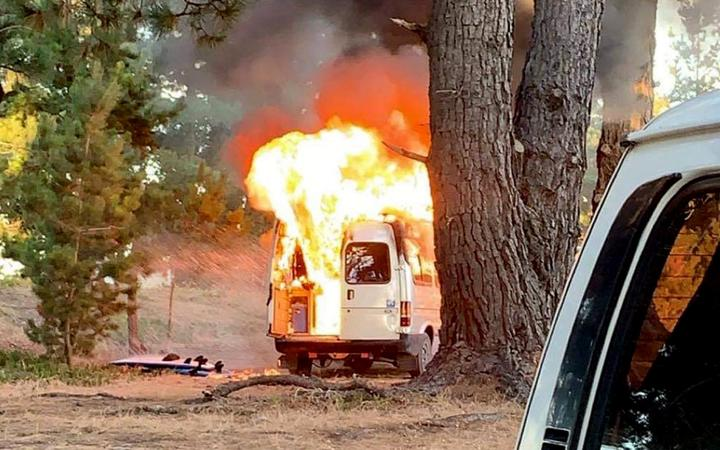 The vehicle was fully ablaze in less than 30 seconds, witnesses say. Photo: LDR / Supplied