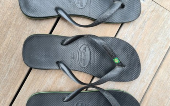 The three left-footed jandals on auction. Photo: Trade Me