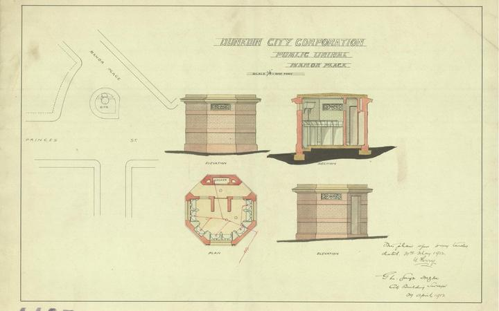 Historic watercolour plans for the Manor Place toilets. Photo: Twitter / @aliheritage