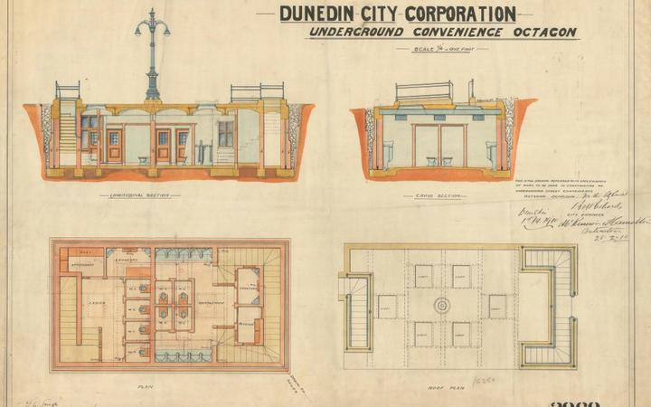 Historic watercolour plans for the underground toilets in the Octagon. Photo: Supplied / DCC