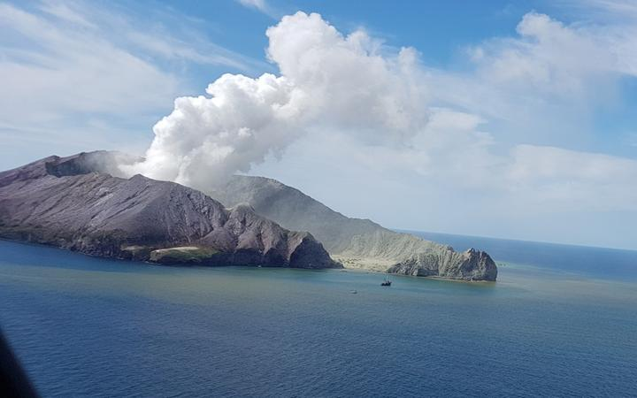 Whakaari after its eruption in 2019. Photo: Supplied / Auckland Rescue Helicopter Trust