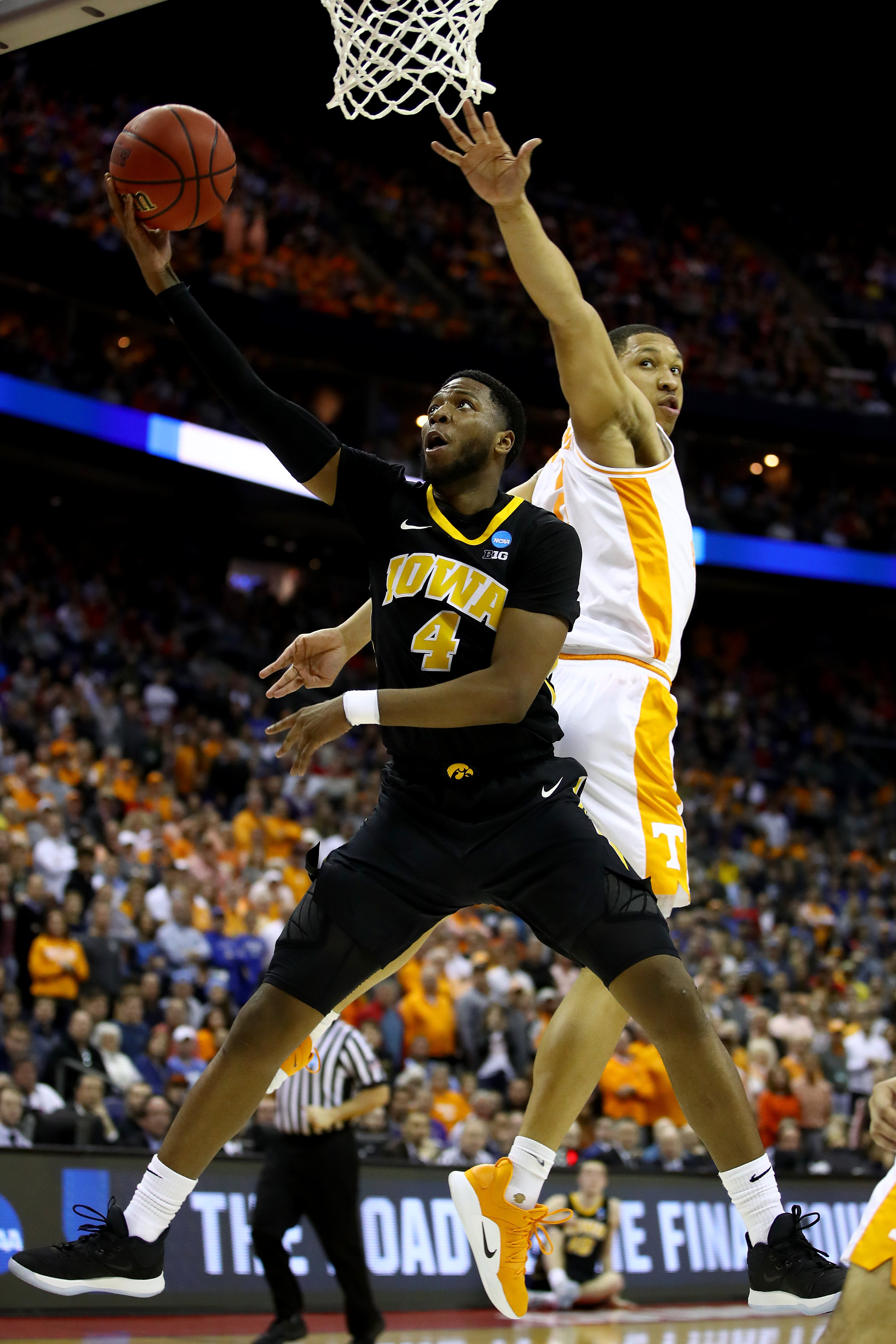 New Otago Nuggets signing Isaiah Moss takes the ball to the hoop for the University of Iowa, as...