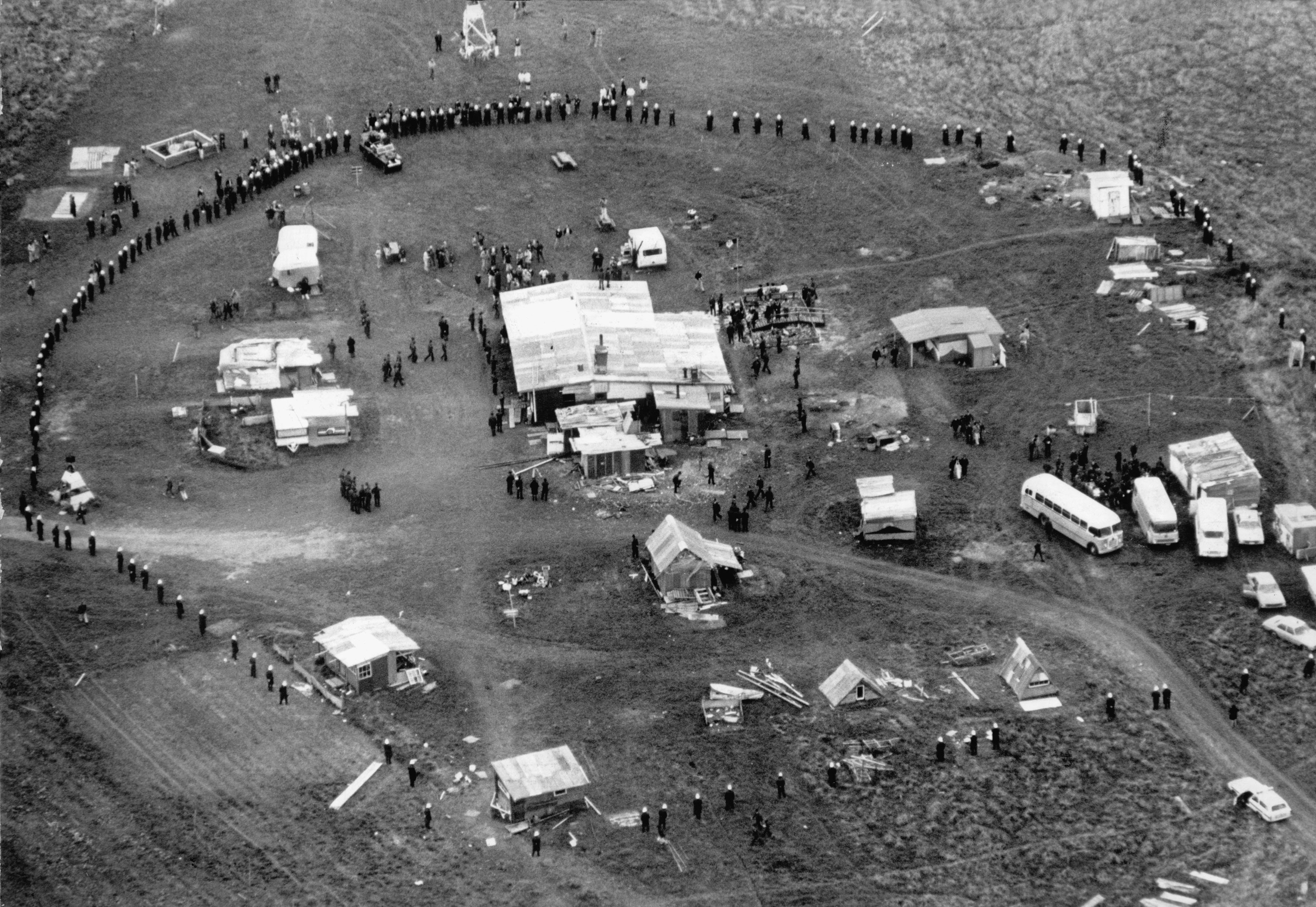 Police surround the protest occupation at Takaparawha (Bastion Point), Auckland, in 1978....