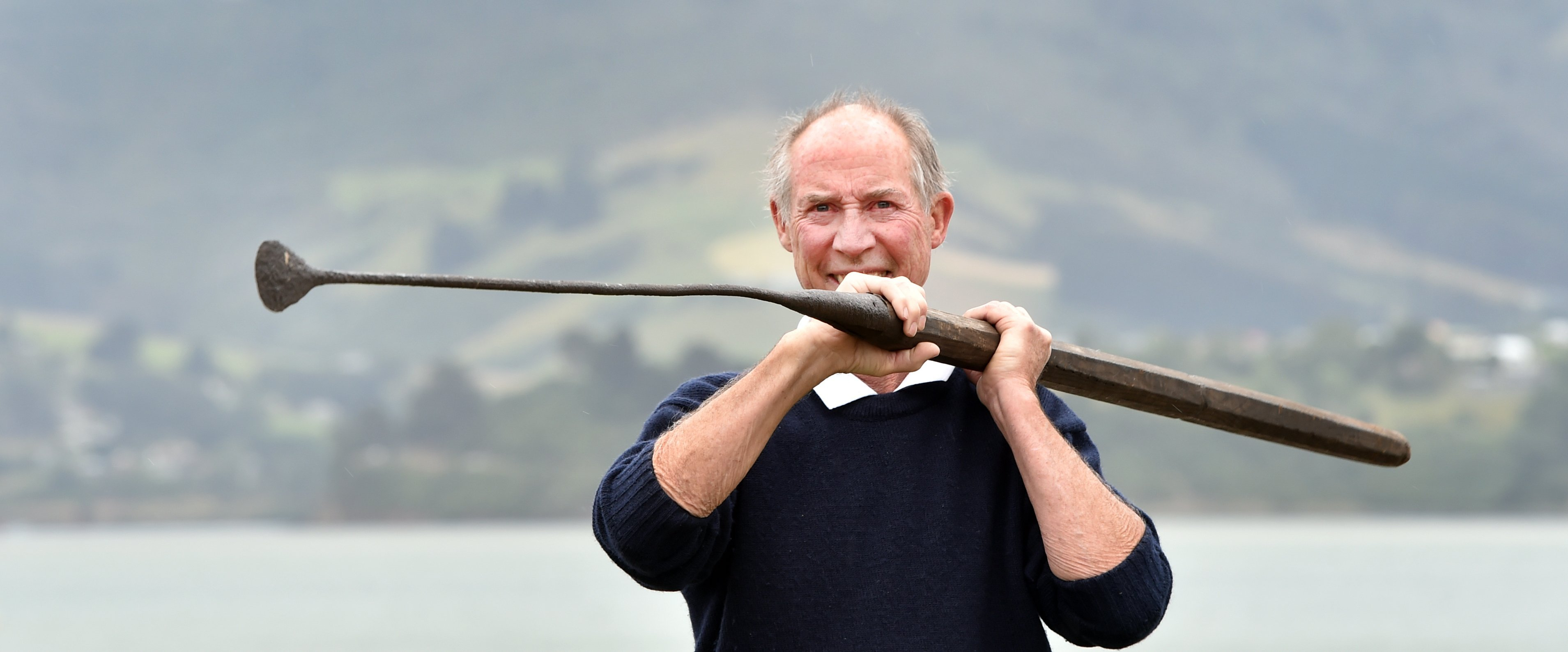 Otago Peninsula Museum and Historical Society president Warren Morris holds a lance used by...