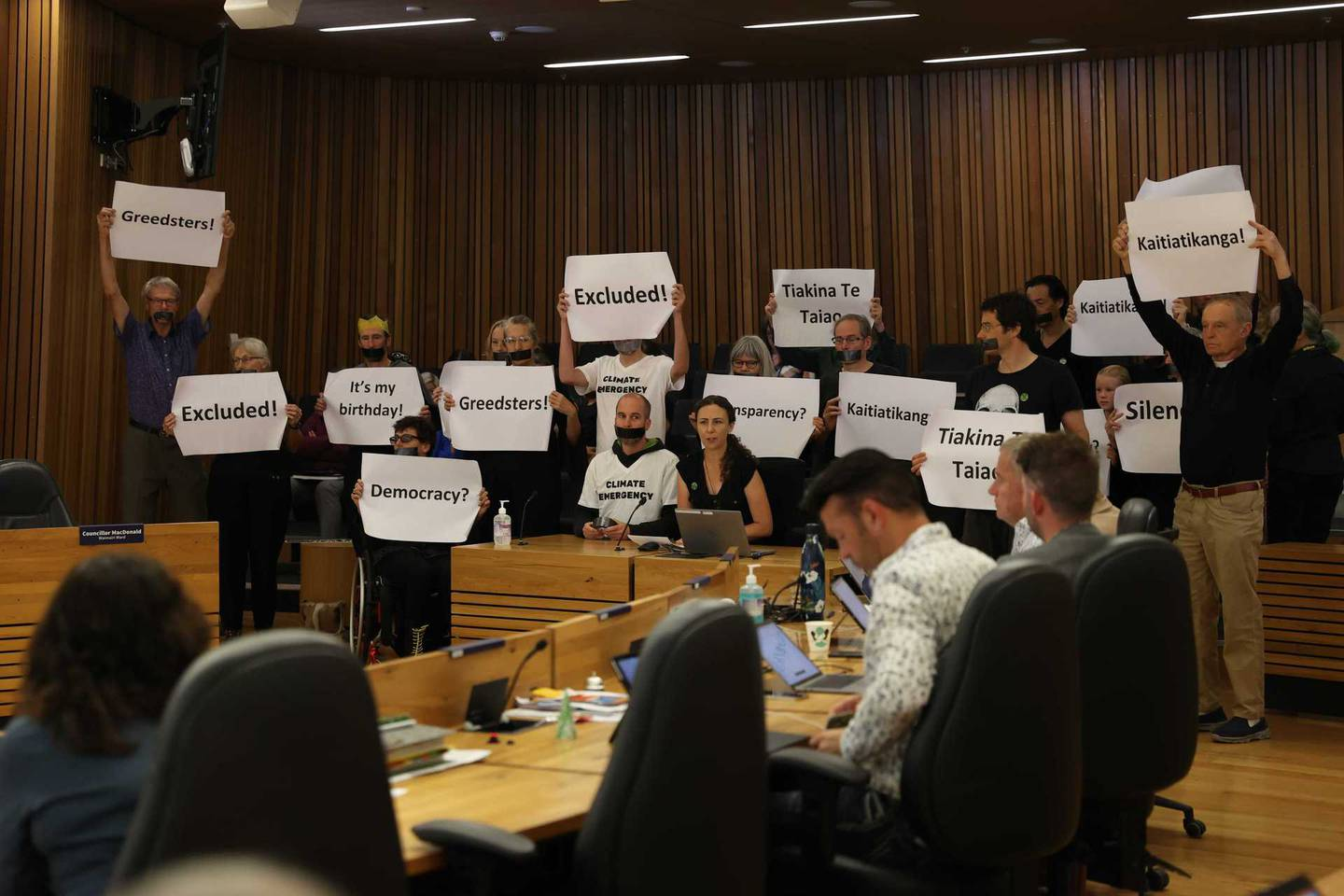 Extinction Rebellion Ōtautahi at the council meeting on Thursday. Photo: George Heard