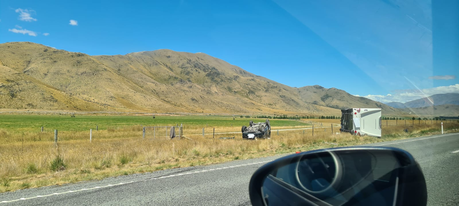 Emergency services were called to the crash on the Twizel-Omarama Rd about 12.30pm. Photo supplied