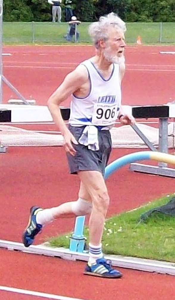 Prof Flynn, of the Leith Harrier and Athletic Club, takes part in a track and field meeting at...