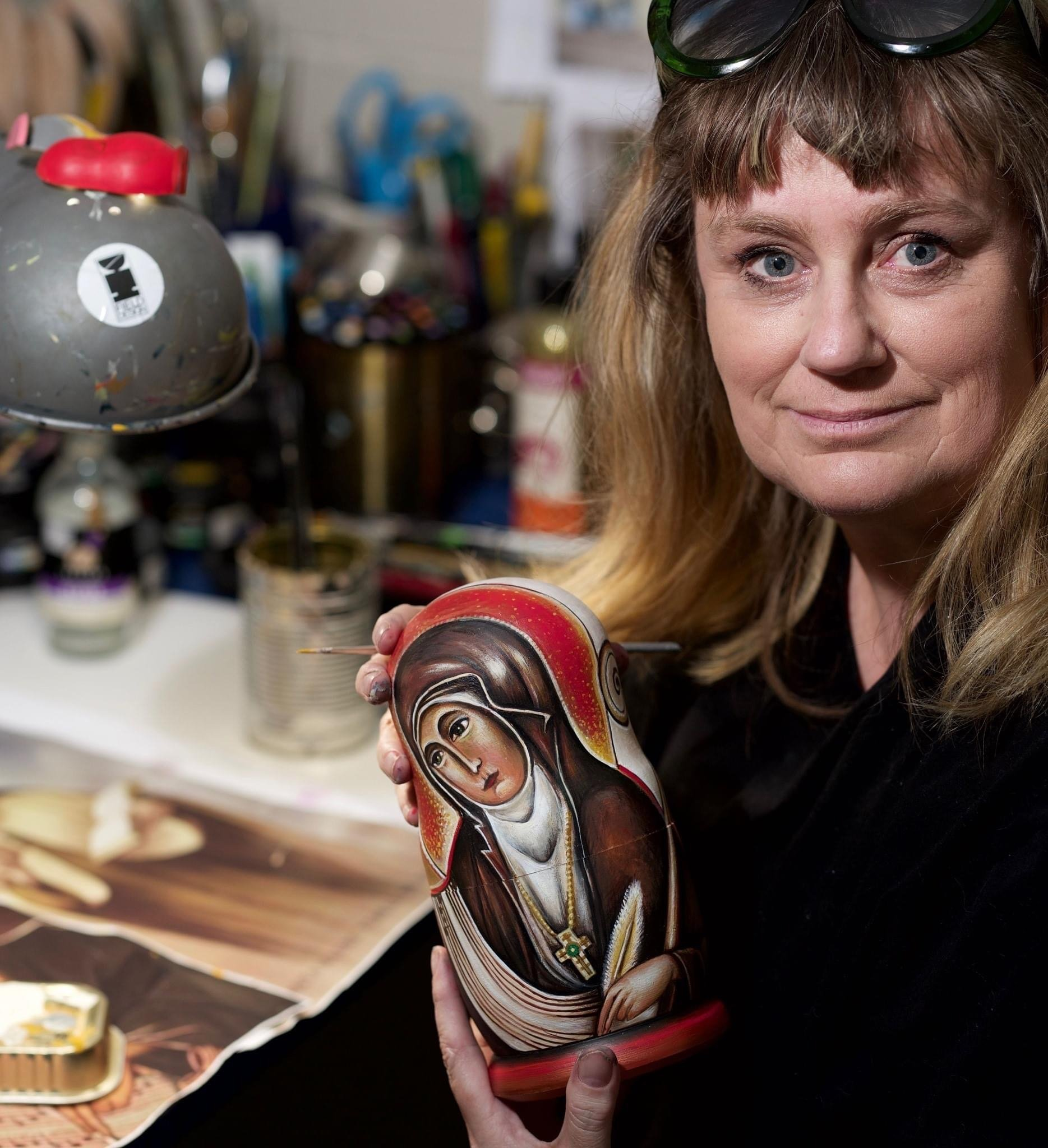 Dunedin artist Kezia Field paints Russian nesting dolls with images of inspirational women to...